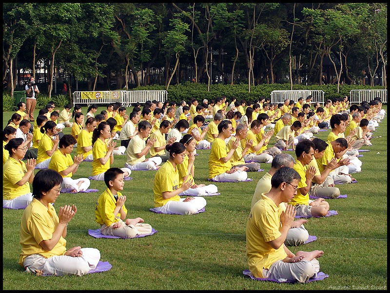 Falun Gong practitioners in Hong Kong's Victoria Park